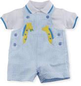 Florence Eiseman Seersucker Giraffe Overalls w/ Polo Shirt, Size 3-24 Months
