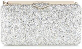 Jimmy Choo ELLIPSE Champagne Coarse Glitter Fabric Clutch Bag