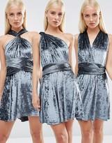 Club L Crushed Velvet Multiway Skater Dress