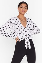 Womens Front Runner Ruffle Polka Dot Blouse - white - 4