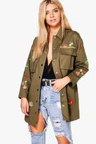 boohoo Ruby Embroidered Longline Canvas Jacket
