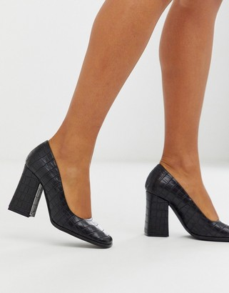 Truffle Collection square toe block heeled shoe in black croc