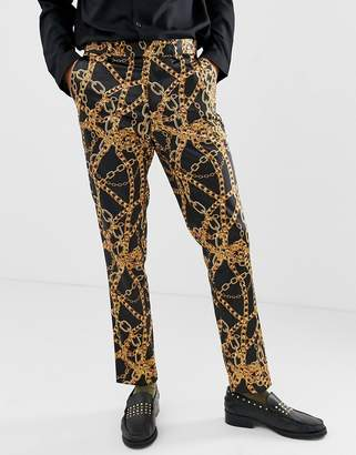 Asos Design DESIGN skinny suit trouser in all over chain print-Black