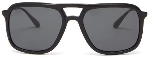 Prada Aviator Acetate And Metal Sunglasses - Mens - Black