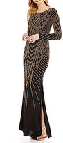 Xscape Evenings Caviar Beaded Long Sleeve Jersey Gown