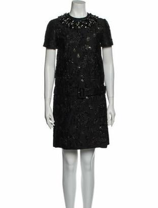 Prada Crew Neck Mini Dress Black