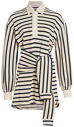 Derek Lam 10 Crosby Baxter Tie-Front Stripe Cotton Shirtdress