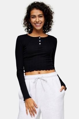 Topshop Womens Black Long Sleeve Button Through Top - Black