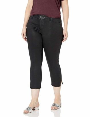 SLINK Jeans Women's Plus Size Gayle Coated Cropped Side Vent Skinny 20w