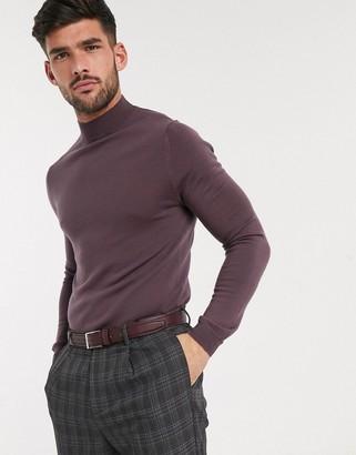 ASOS DESIGN muscle fit merino wool turtle neck jumper in purple