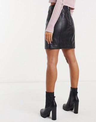 New Look leather look mini skirt in black