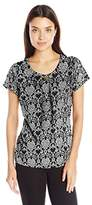 Notations Women's Short Sleeve All Over Print Scoop Neck Printed Knit Pullover with Trim At Neck