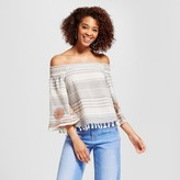 XOXO Women's Embroidered Stripe Smocked Off the Shoulder Tassel Top Juniors')