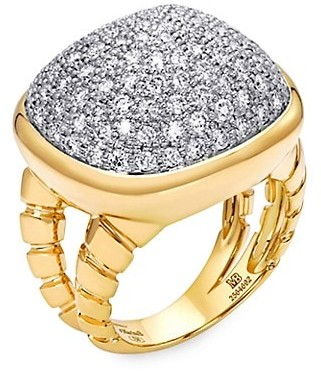 MARINA B Tigella 18K Yellow Gold & Diamond Pave Sugarloaf Ring