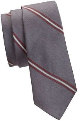 Brunello Cucinelli Diagonal Striped Silk-Blend Tie