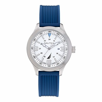 Nautica Men's Point Loma Stainless Steel Japanese Quartz Watch with Silicone Strap Blue 20 (Model: NAPPLS013)