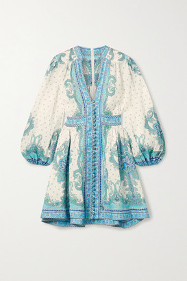 Zimmermann Bells Paisley-print Linen Mini Dress - Blue