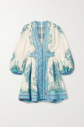 Zimmermann Bells Paisley-print Linen Mini Dress - Blue