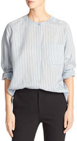 Vince Menswear Striped Charmeuse Shirt, Blue