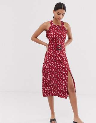 Fashion Union curved neckline midi dress with waist belt in floral