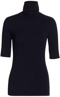 Majestic Filatures Soft Touch Elbow-Sleeve Turtleneck Sweater