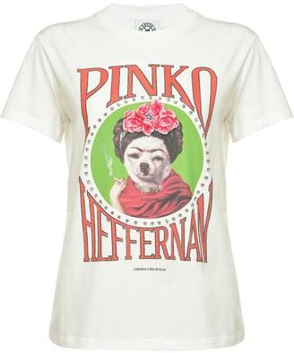 Pinko graphic print stud embellished T-shirt
