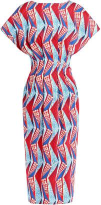 Stella Jean Pleated Printed Stretch Cotton-twill Midi Dress