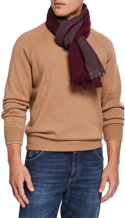 Brunello Cucinelli Men's Block-Stripe Cashmere Scarf