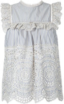 Zimmermann striped broderie anglaise top - women - Cotton - 2