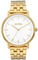 Nixon All Gold Porter Sunray White Dial Watch