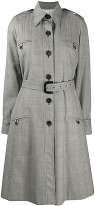 Christian Dior 2000s Check Print Trench Coat