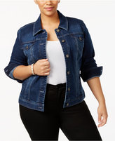 Style&Co. Style & Co Plus Size Embroidered-Back Denim Jacket, Created for Macy's