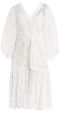 Carolina Herrera Women's Lace Eyelet Dramatic Puff-Sleeve V-Neck Tie-Waist Flounce Midi Dress