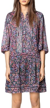 Zadig & Voltaire Paisley Print Sequin Embellished Mini Dress