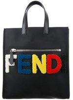 Fendi Fleece-Logo Leather-Trimmed Tote w/ Tags