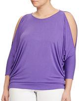 Lauren Ralph Lauren Plus Cutout-Shoulder Jersey Top