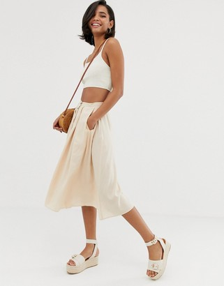 Asos Design DESIGN button front floaty midi skirt with pleats-Stone