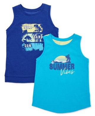 Athletic Works Graphic Active Tank Tops, 2-Pack, Sizes 4-18 & Plus