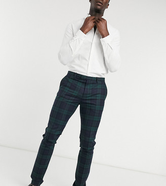 Twisted Tailor TALL super skinny plaid suit pants in green