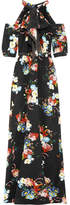 Erdem Annaliese Cold-shoulder Floral-print Silk Crepe De Chine Gown - Black