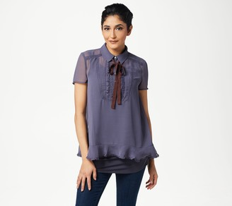 LOGO by Lori Goldstein Sheer Crepe Chiffon Blouse with Neck Tie
