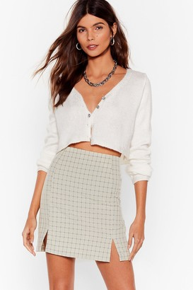 Nasty Gal Womens Check On Your Friends Slit Mini Skirt - Green - 12