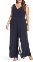 Xscape Evenings Plus Size Women's Chiffon Panel Jumpsuit