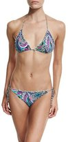 Etro Paisley Ruffle-Trim Triangle Bikini Set, Multi