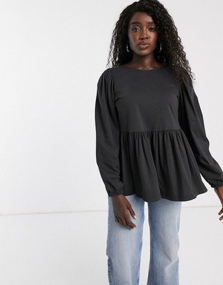 ASOS DESIGN smock with blouson long sleeve and tie back
