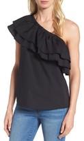 Women's Halogen One-Shoulder Cotton Poplin Top