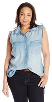 Democracy Women's Plus Size Chambray Sleeveless Denim Button up with Rouched Shoulder Detail
