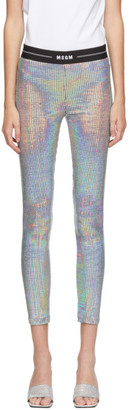 MSGM Silver Iridescent Disco Leggings