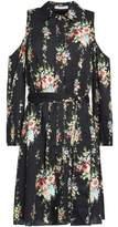 Alice + Olivia Cold-Shoulder Floral-Print Crepe Mini Dress