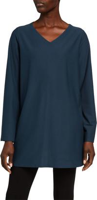 Eileen Fisher Petite V-Neck Stretch Crepe Side Slit Tunic